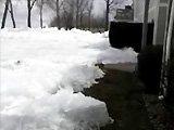 De la glace envahit des jardins
