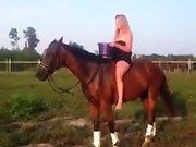 Une blonde fait un Ice Bucket sur son cheval