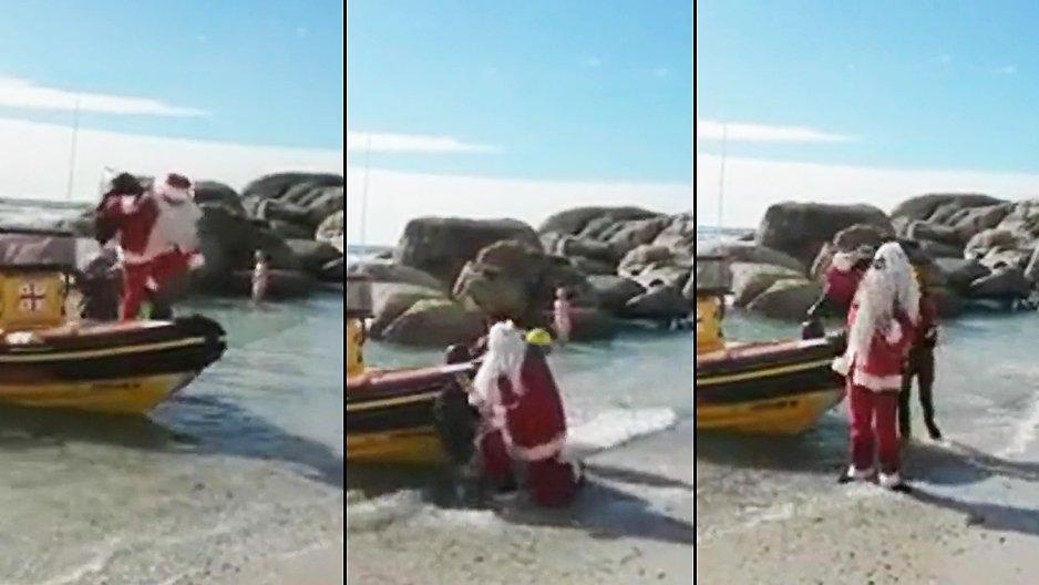 Le Père-Noël débarque de son bateau