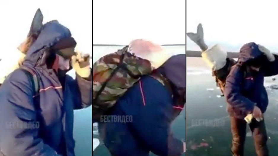 Une femme russe qui transporte un poisson