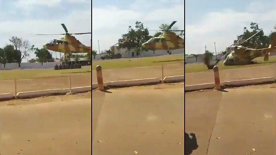 Atterrissage compliqué d'un hélicoptère