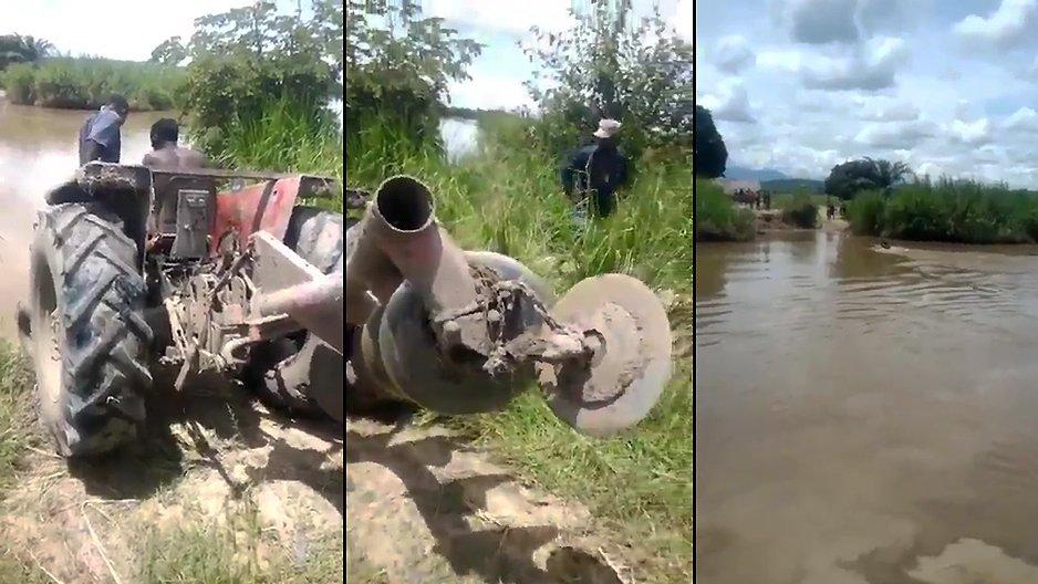 Traverser une rivière avec son tracteur