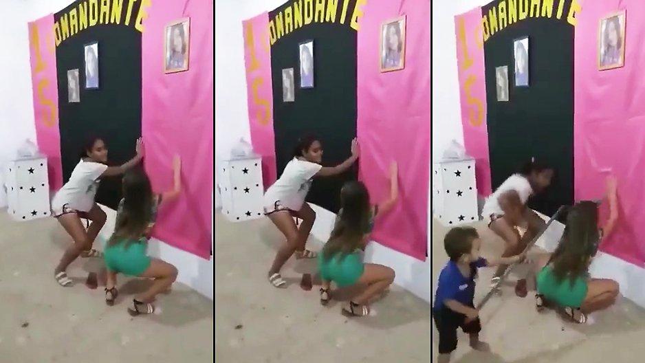 Une nana qui twerk devant son petit frère