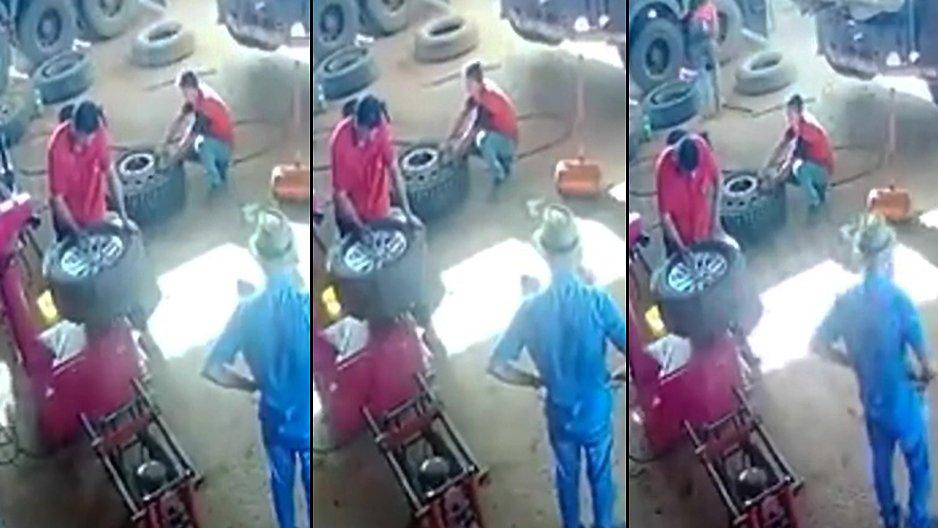 Un ouvrier mis ko en réparant un pneu