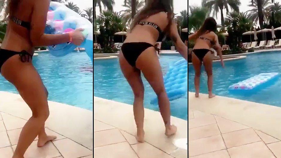 Une fille qui a voulu sauter sur un matelas
