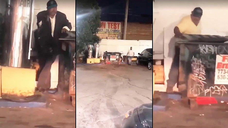 Il surprend deux hommes derrière une poubelle